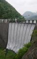 鳴子ダムのすだれ放流のオープニングセレモニー